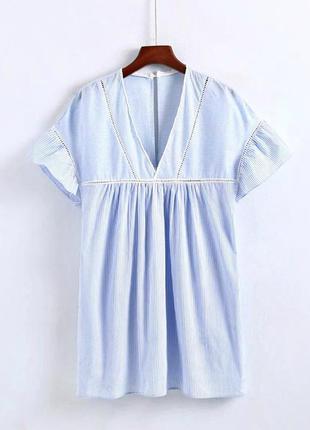 Платье-туника zara/полоска/голубое платье