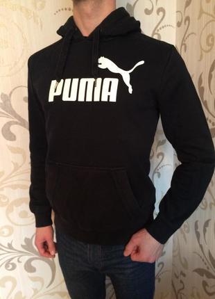 Чорна спортивна кофта з капішоном пума puma