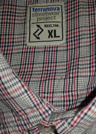 Стильная летняя рубашка тенниска в клетку terranova, размер xl.