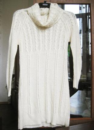 Вязанное лёгкое платье туника белая mango свитер шерсть акрил