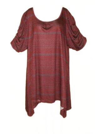 Платье туника вискоза бордового цвета марсала большой размер 22