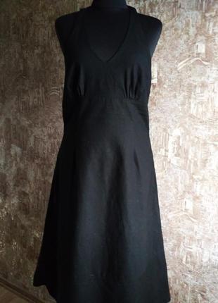 Очаровательное льняное платье с открытой спиной, размер l