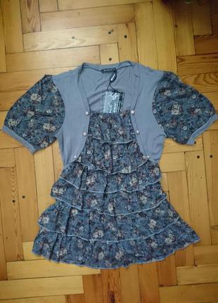 Оригинальная футболка с рюшами_туника_цветочный принт_р.42-44