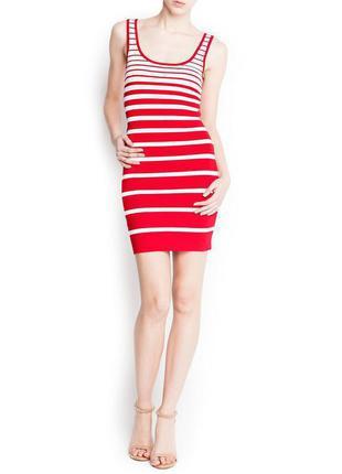 Платье лапша в рубчик красного цвета zara в полоску