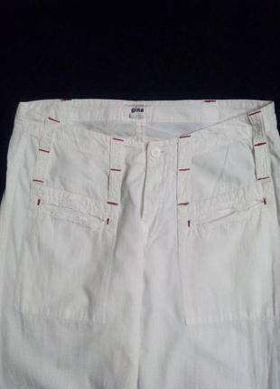 Белые легкие повседневные штаны, 100% лен