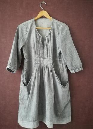 Платье из варёного тонкого джинса