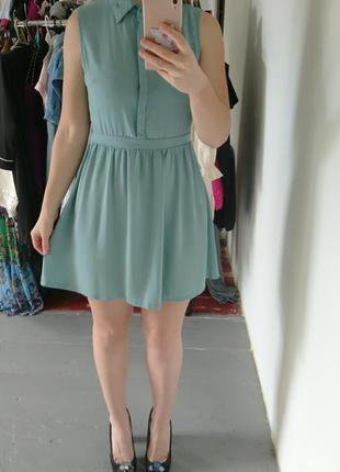 Актуальное мятное платье рубашка №265 glamorous2