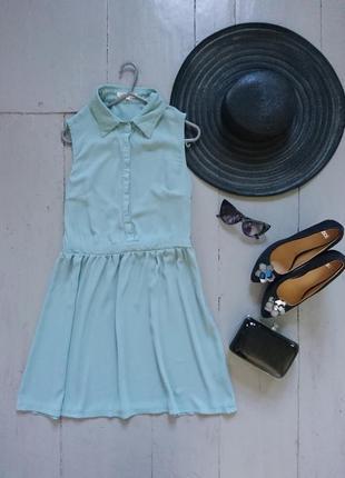 Актуальное мятное платье рубашка №265 glamorous5