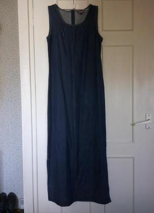Длинный джинсовый котоновый сарафан trader
