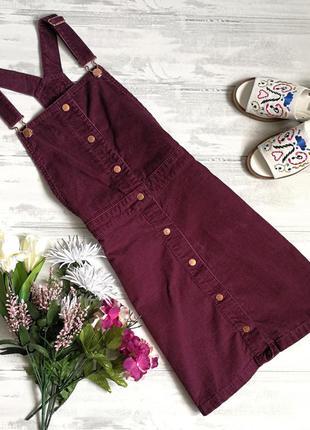 Бордовый вельветовый сарафан в122924 f&f размер xs платье комбинезон юбка