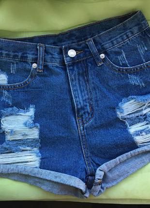 Джинсовые шорты с высокой талией и потертостями ||| 100% коттон