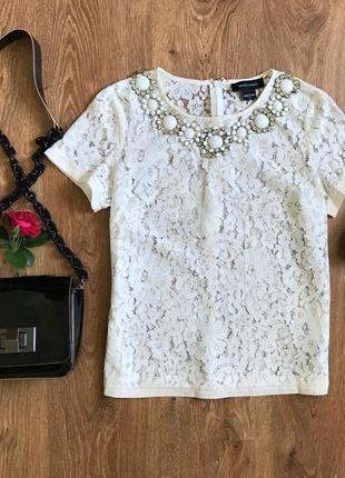 Кружевная нарядная футболка,блуза  с камнями от guess marciano