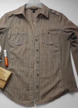 Кофейная блузка рубашка из хлопка и трикотажа