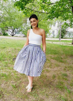 Летняя юбка в полоску длинной миди