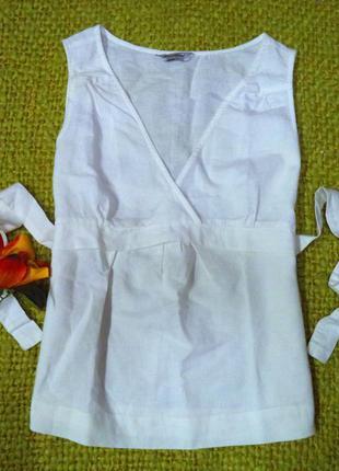Летняя льняная блуза с поясом