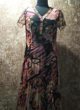 Классное нарядное платье, украшена металлическими паэтками, размер м
