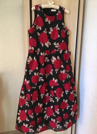 Платье вечернее нарядное миди цветочный принт тафта