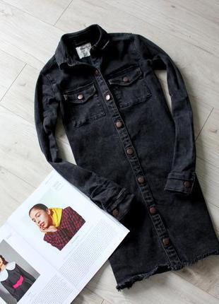 Крутая удлиненная джинсовая куртка платье плотная  черная бахрома хс 6