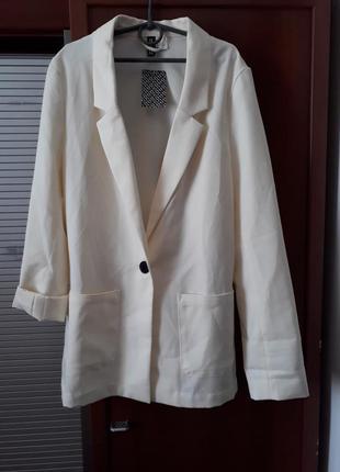Однотонный шампань смокинг - пиджак жакет h&m p.382 фото