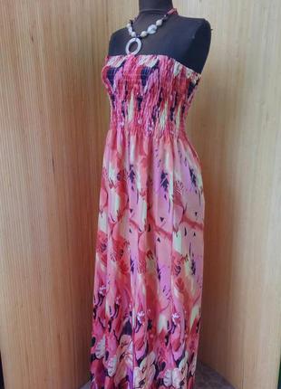 Летнее трикотажное платье сарафан под грудь с принтом m/l