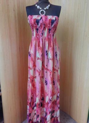 Летнее трикотажное платье сарафан под грудь с принтом m/l2 фото