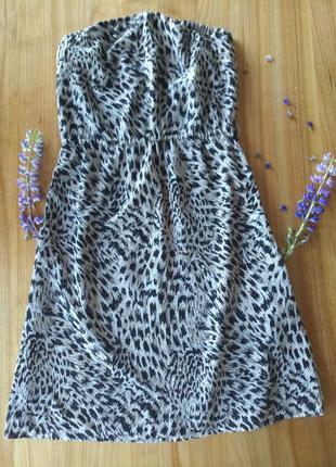 Платье без бретелей леопардовый принт