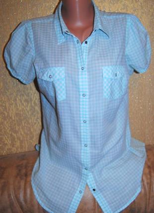 Тоненькая котоновая рубашка клетка papaya