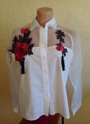 Шикарная блуза а аппликацией роз