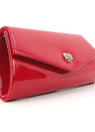 Красная лаковая вечерняя сумка-клатч через плечо с брожкой