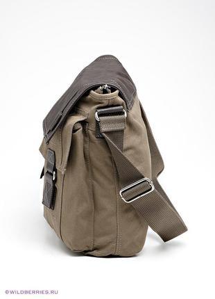 Liviana conti мужская кожаная сумка мессенджер с текстилем милитар германия