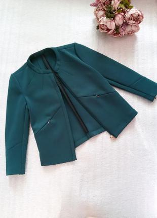Пиджак жакет укороченный бутылочного цвета рукав 3/4 reserved