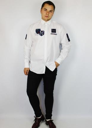 Paul shark классическая мужская рубашка с нашивками и оксфорд oxford воротником