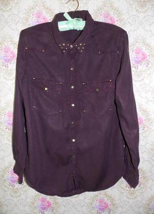 Лёгкая рубашка блуза удлиненная сзади бордового цвета от h&m