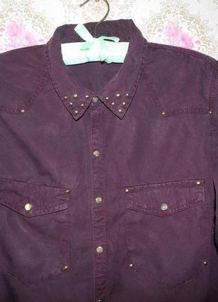 Лёгкая рубашка блуза удлиненная сзади бордового цвета от h&m2 фото