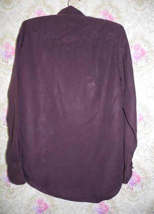 Лёгкая рубашка блуза удлиненная сзади бордового цвета от h&m4 фото