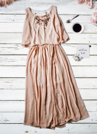 Шикарное персиковое платье