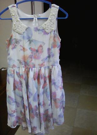 Нежное платье в бабочках вышито жемчугом рост 122 next1 фото