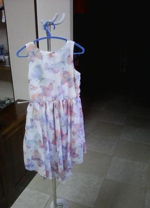 Нежное платье в бабочках вышито жемчугом рост 122 next2 фото