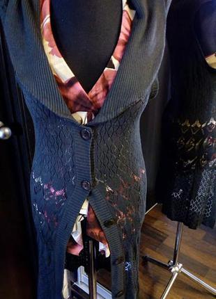 Серый ажурный жилет с шалевым воротником из вискозы