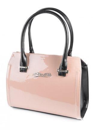 Розовая лаковая деловая сумка с ручками каркасная классическая