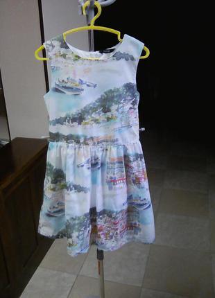 Нарядное пышное платье сарафан принт акварельный рисунок 8-9 лет george