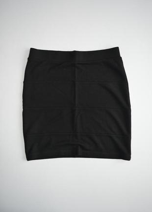 Бандажная черная мини юбка базовая xs/s