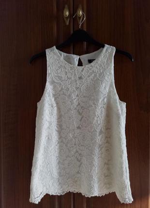 Белая ажурная блуза f&f