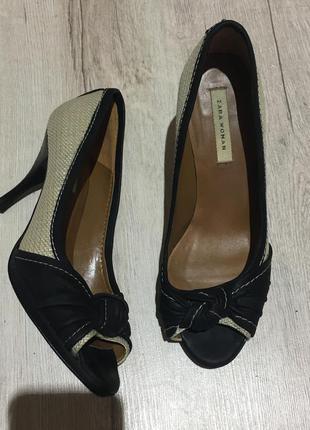 Классные летние туфельки натур кожа/рогожка от zara (38р) 24см