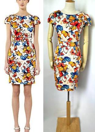 Warehouse платье миди с принтом бабачки