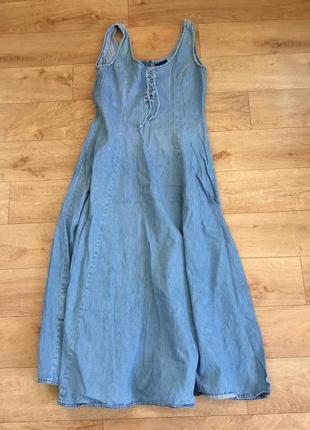 Джинсовое макси платье сарафан в пол