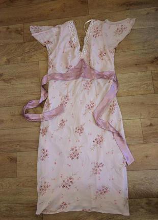 Летнее пудровое макси платье рукава воланы цветочный принт