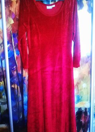 Червоне велюрове  довге плаття