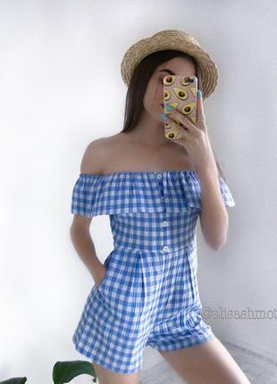 Милий вафельний голубий комбез комбинезон женский m женская одежда украина