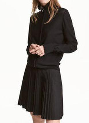 Плиссе юбка мини черная новая h&m плиссированная р.xl тренд сезона!